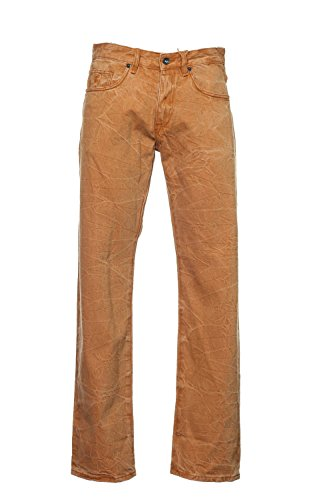 Rocawear 'Interior Color Weave' Orange Distressed Straight Leg Jeans Size 38x33 (Jeans Embroidered Rocawear)