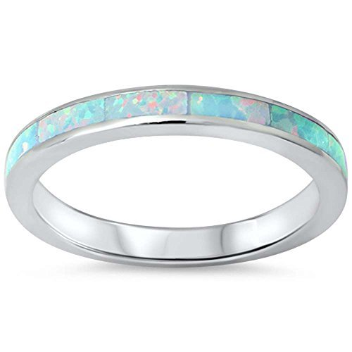 - Oxford Diamond Co .925 Sterling Silver Womens Lab Created Opal Eternity Wedding Stackable Band Ring Sizes 4-12