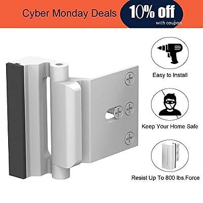 """Home Security Door Lock, Childproof Door Reinforcement Lock with 3"""" Stop 4 Screws Withstand 800 lbs for Inward Swinging Door, Upgrade Night Lock to Defend Your Home (Silver-1 Pack)"""