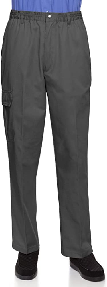 Mens Full Elastic Waist Pants with Zipper Fly and Snaps Closure