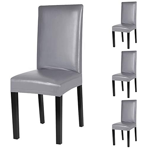 Fuloon Dining Chair Covers,Solid Pu Leather Waterproof and Oilproof Stretch Dining Chair Protctor Cover Slipcover (4 Sets, Gray)