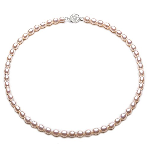 Pearl White Necklace Freshwater 17 - JYX Oval White Freshwater Cultured Pearl Necklace 17