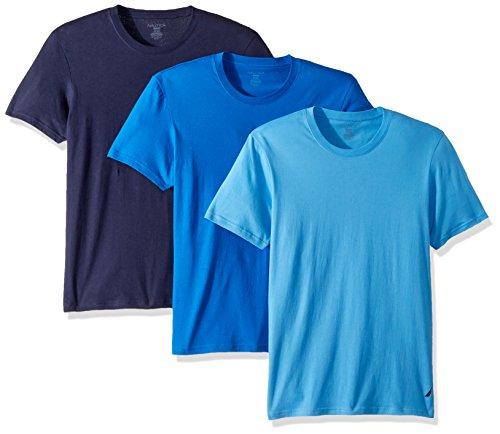 Nautica Men's Cotton Crew Neck T-Shirt-Multi Pack, Peacoat/Aero/Cob, M