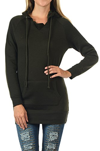 - YourStyle Tunic Top Hoodie Sweatshirt-Long Sleeve (Large, YS40-Olive)