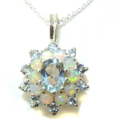 Ladies Solid 925 Sterling Silver Ornate Large Natural Aquamarine & Opal Large Cluster Pendant Necklace