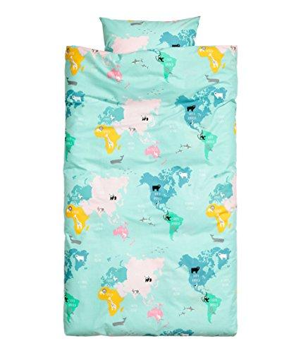 100% Cotton Explorer (Kids Explorer Bedding World Map 2pc Twin Duvet Cover Set 100% Cotton Animal Map Adventures Boys or Girls Toddle Bedroom Decor (Multicolor))