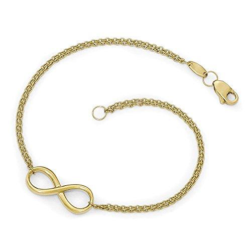 10K Or poli Bracelet Infini-20cm-doré Grade Plus élevé que or 9carats