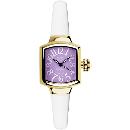 Glam Rock Women's MBD27130 Miami Beach Art Deco Purple Dial White Silicone Watch