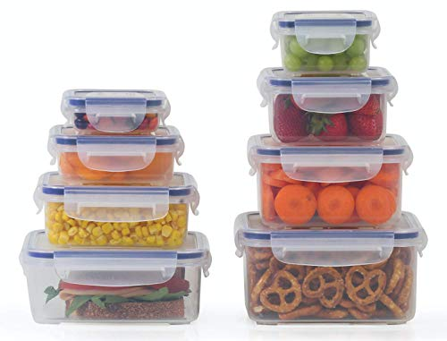 Popit! Plastic Food Storage Containers 16 Piece Set, Leak Proof, Kitchen Meal Prep, - Microwavable, Freezer and Dishwasher Safe Portion Control Tupperware - Little Big Box