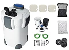 The SunSun HW-302 3 stage external canister filter is ideal for tanks up to 75 gallon. It handles up to 264 gallons per hour. The SunSun HW-302 includes filter pads, hoses and all the parts you need to get started. The three flexible media tr...