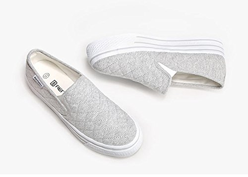 Sneakers Slip Canvas Shoes Loafers Aisun Platform Women's On Gray zpPqP0