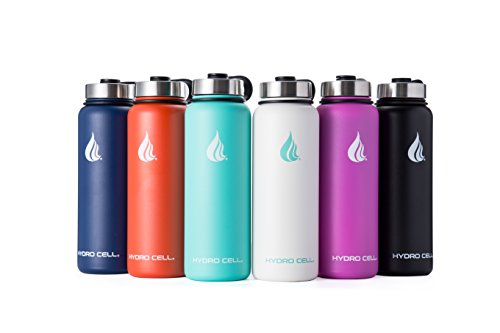 HYDRO CELL Stainless Steel Water Bottle with Straw & Wide Mouth Lids (32oz or 22oz) - Keeps Liquids Perfectly Hot or Cold with Double Wall Vacuum Insulated Sweat Proof Sport Design (Fuchsia 40 oz)