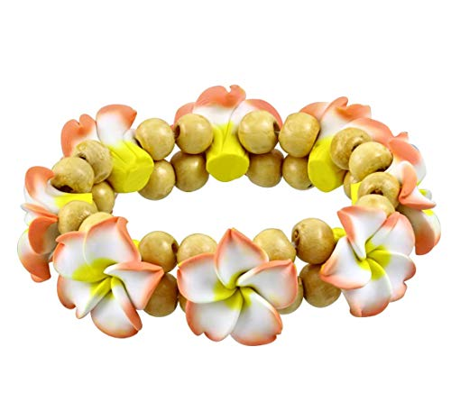 DianaL Boutique Fashion Polymer Clay Hawaiian Flowers Plumeria Beaded Stretch - Polymer Boutique Clay