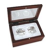 Primer rizo de plata para bebé y primer diente en caja de recuerdo de palisandro