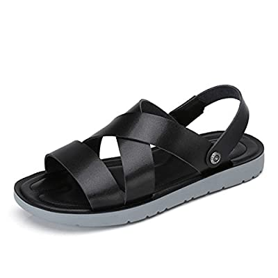 Camel Men's Casual Leather Sandals Non-slip Slip On Summer Beach Wear Flip Flop