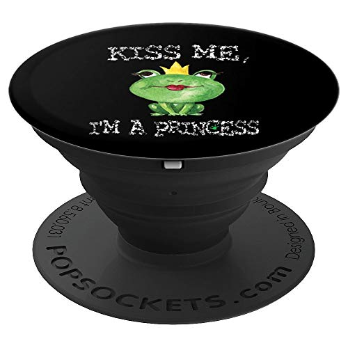 Kiss Me I'm A Princess Funny Frog Toad PopSockets Grip and Stand for Phones and Tablets (Im The Best Toad)