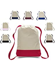 Pack of 12 - Durable Canvas Backpack Bags with Adjustable Shoulder Straps