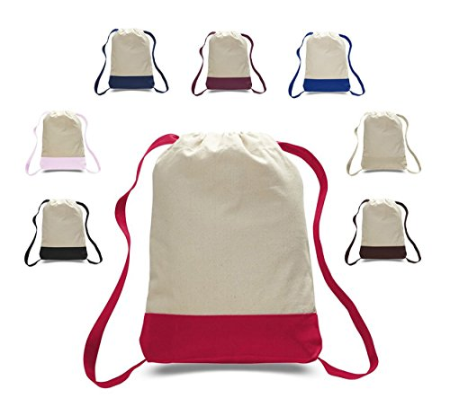 Pack of 12 - Durable Canvas Backpack Bags Two Tone Canvas Sport Promotional Backpacks Bulk - Arts and Crafts Backpacks Sack packs with Adjustable Straps Wholesale Drawstring Bags (Mix-Assorted) by BagzDepot