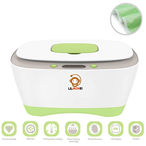 Lilmonki- Wet Wipe Warmer and Dispenser - for Baby and Adult Wipes - BPA-Free - Includes Bonus Changing Pad