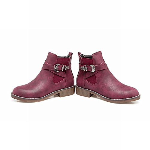 Charm Foot Womens Western Zipper Stivaletti Fibbia Punta Rotonda Vino Rosso