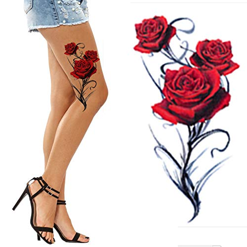 Black and Lotus Temporary Tattoos for Women Flower Big and Small Roses Adult Temp Tattoo on Transfer Paper (Red Rose) -