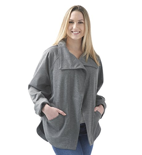 Mighty Well Fleece Wrap-Jacket, Heather Grey, One Size