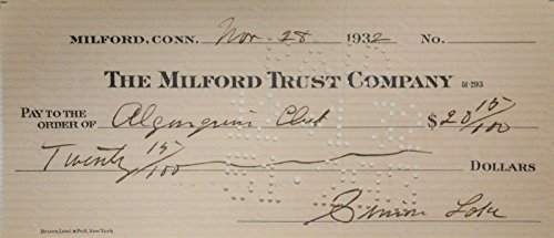 Simon Lake Hand Signed Autographed Personal Check $20.15