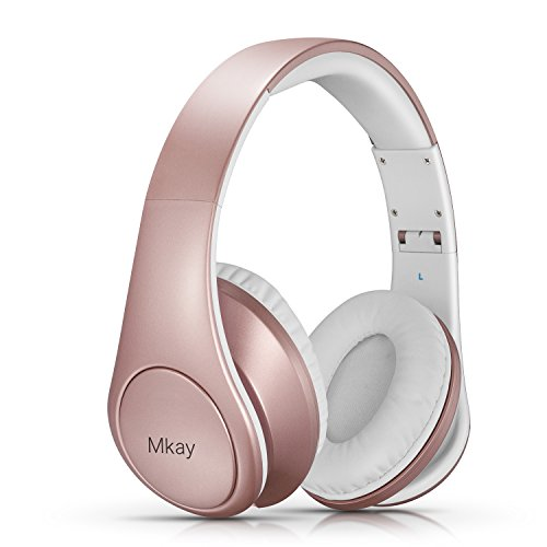 Mkay Bluetooth Headphones Over Ear, Wireless Headset Foldable with Mic, Stereo Rock Sound with Deep Bass, Perfect for Cell Phone/ TV/ PC (Rose Gold)