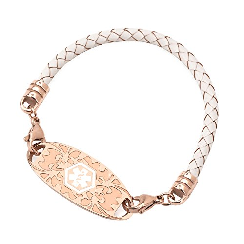 Medical Alert ID Bracelet for Women Leather Band Rose Gold Medical ID Interchangeable Tag (Free Engraving) - Medical Jewelry Id Plate