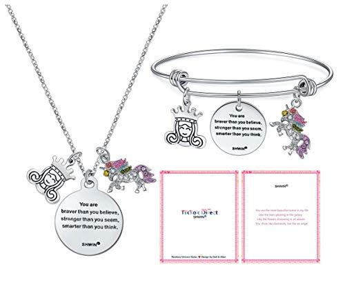 TikTok Direct Unicorn Necklace - 2 Pack Rainbow Unicorn Necklace Bracelet Set for Girls Best Friend Necklace Bracelet (Unicorn Knight)
