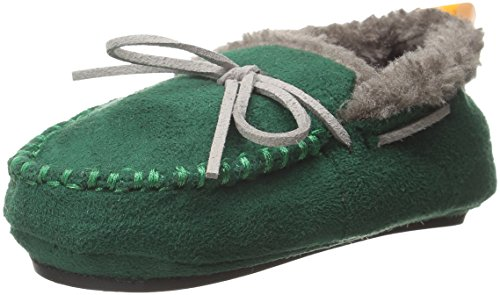Plush Moccasins Slipper, Green, 18-24 Months M US Toddler ()