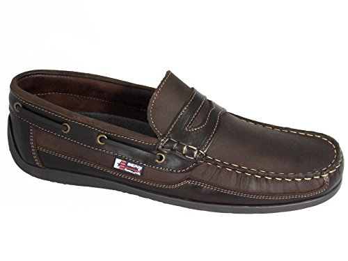 Beppi Men's Portuguese Made Slip On Leather Deck Shoes Brown