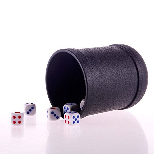 8 Professional Poker Set - SmartDealsPro Mini Professional Black Poker/Liar's Game Dice Cups with 5 dices
