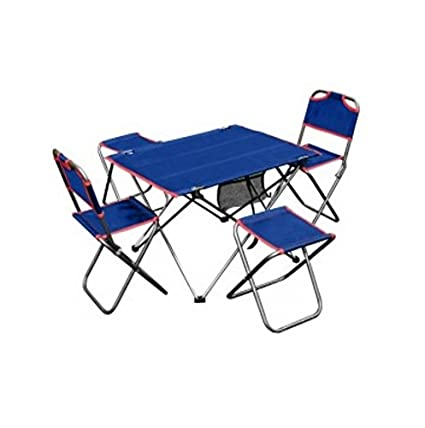 Magnificent Amazon Com Camping Table Set Outdoor Folding 5 Piece Inzonedesignstudio Interior Chair Design Inzonedesignstudiocom