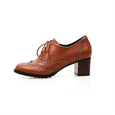 Brand New Fashion Vintage Womens Thick Heels Oxford Shoes (4.5, Brown)