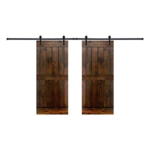 Paneled Wood Dark Brown Barn Door with Hardware Kit-Double Door