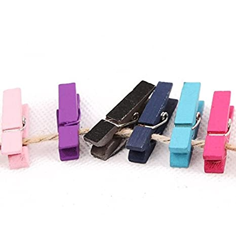 Hot Pink 100 Mini wooden pegs SODIAL R