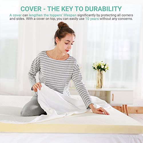 Recci 3in Memory Foam Mattress Topper Cal King, Pressure-Relieving Bed Topper, Memory Foam Mattress Pad with Hypoallergenic Bamboo Cover - Removable & Washable, CertiPUR-US (California King Size)