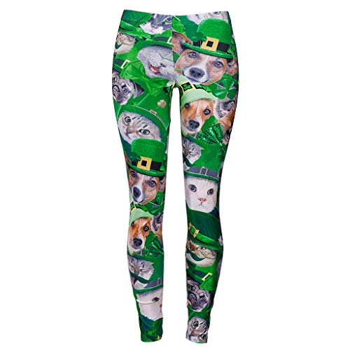 Women's Shamrock Pencil Pants Cat Dog Animal Clover Print Elasticity Leggings Striped Trousers Tights for St Patrick's Day (M)