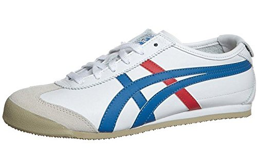 Onitsuka Tiger Mexico 66 White Blue Red Leather Womens Trainers Shoes Boots-4