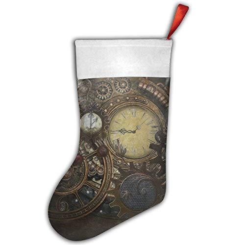 LOIOI67 Steampunk Clocks Christmas Stocking,Craft Holiday Hanging Socks Ornaments Decorations Santa Stockings