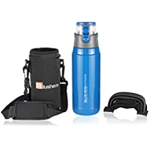 Blushers 650ml (22oz) Double Wall Vacuum Insulated 304 Stainless Steel To Go Travel Mug, One Touch Lock Lid Thermos Water Bottle (Blue Set)