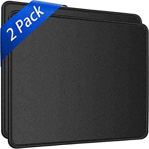 "Mouse Pad,2 Pack Upgated Durable Mouse Pads with Stitched Edge, Computer Mouse Pad,11.8""x9.8""x0.12"" 30% Larger Big Mouse Pad,Non-Slip Rubber Base Waterproof Mouse Pad for Laptop,Office,Home, Black"