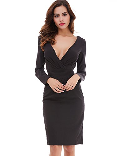 CLOCOLOR Women's V Neck Long Sleeve Pencil Day Dress Short Cocktail Party Gown Size 12 Black