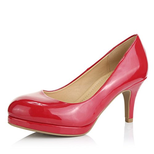 - DailyShoes Women's Classic Ankle Strap Platform Low Heels Round Toe Party Dress Pumps Shoes, Red Patent Leather, 5 B(M) US