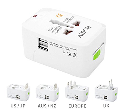 All in One Universal Travel Adapter Worldwide Power Plug Wall AC Adaptor Charger with Dual USB Charging Ports US EU UK AUS NZ AC100-240v Surge Protected Portable International Power Adapter by ATECH (Image #5)