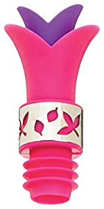 Pink Lily Reusable Silicone 2 in 1 Wine Pourer and Bottle Stopper