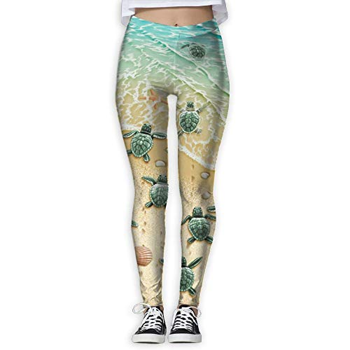 Leggings Turtle - Running Workout Leggings with Designs - Turtles On The Beach Prints (dkhh) White