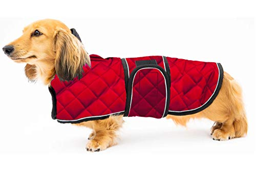 Geyecete Warm Thermal Quilted Dachshund Coat, Dog Winter Coat with Warm Fleece Lining, Outdoor Dog Apparel with…