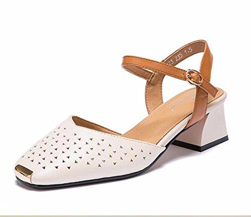 GTVERNH Cabeza Cuadrada Medio Tacón Hollow Sandalias Primavera Y Verano Baotou Vaciado Tacon Zapatos De Mujer Beige
